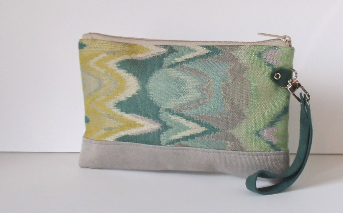 Wristlet Wallet Grey Green Ikat - Version 2